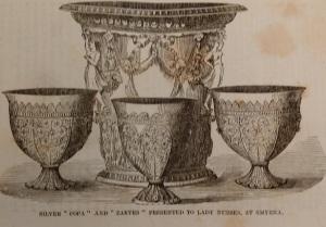Smyrna silverware presented to Henrietta & Charlotte Le Mesurier at end of their service as Crimean nurses