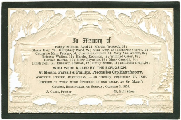In-Memoriam Card for those killed in an explosion at Messrs. Pur